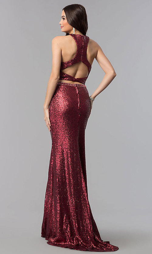 Image of long sequin high-neck two-piece prom dress. Style: AL-60030 Front Image