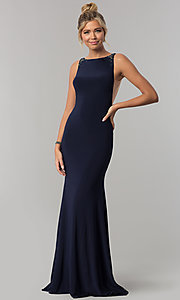 Image of long sleeveless Alyce prom dress with open back. Style: AL-60005 Front Image