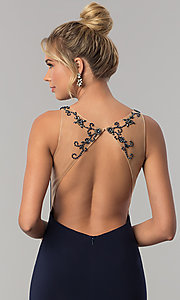 Image of long sleeveless Alyce prom dress with open back. Style: AL-60005 Detail Image 1