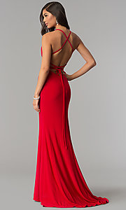 Image of square-neck open-back long prom dress by Alyce. Style: AL-60001 Detail Image 1