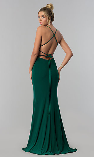 Square-Neck Open-Back Long Prom Dress by Alyce