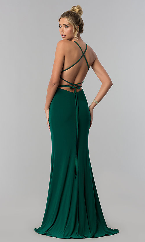 Square-Neck Open-Back Long Prom Dress by
