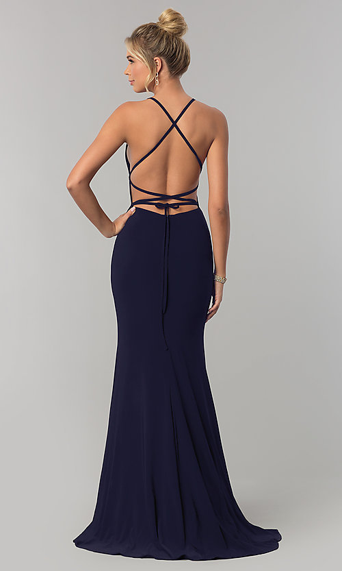 Image of square-neck open-back long prom dress by Alyce. Style: AL-60001 Detail Image 2