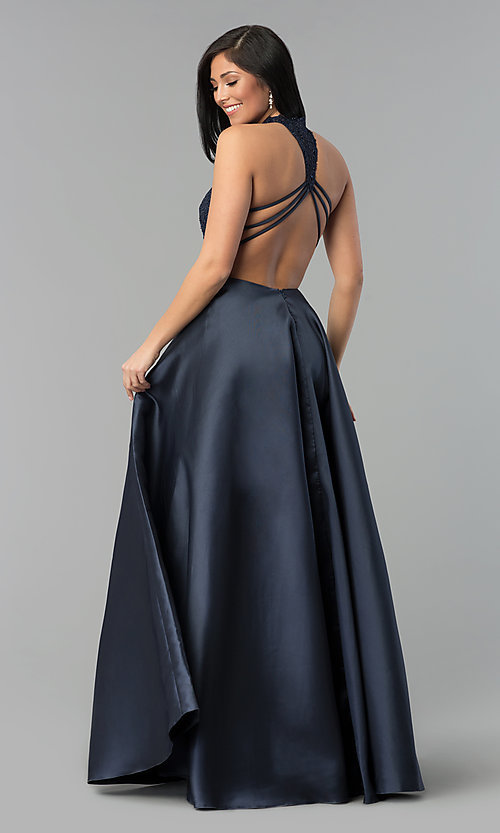 Image of long open-back Alyce prom dress with high neck. Style: AL-60060 Detail Image 2