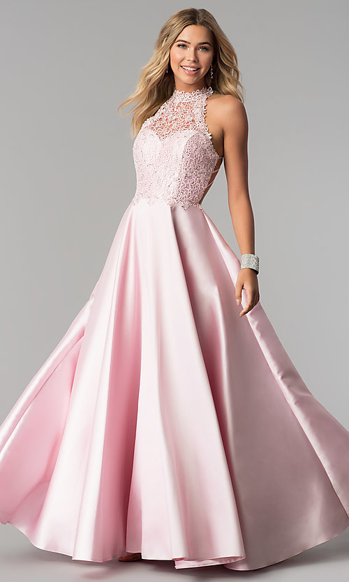 Image of long open-back Alyce prom dress with high neck. Style: AL-60060 Front Image