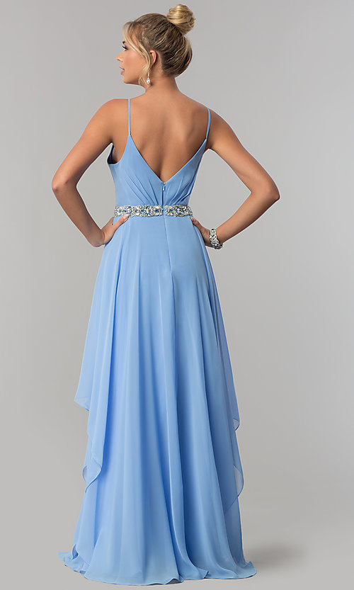 Image of long ruched v-neck chiffon prom dress with jewels. Style: AL-60092 Back Image
