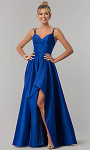 Image of long Alyce high-low taffeta prom dress with slit. Style: AL-60094 Detail Image 1