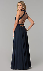 Image of long open-back racer-front formal dress by Alyce. Style: AL-60160 Back Image