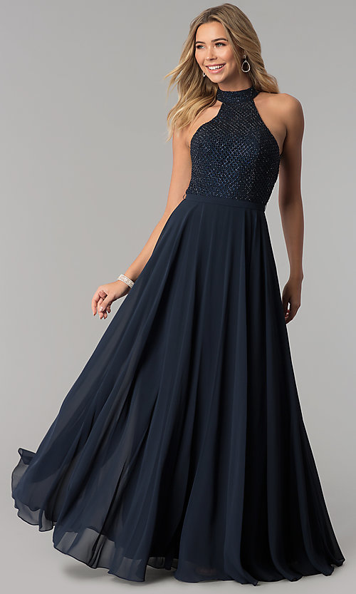 Image of long open-back racer-front formal dress by Alyce. Style: AL-60160 Front Image