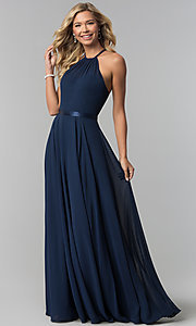 Image of a-line high-neck chiffon formal long prom dress. Style: DQ-2176 Detail Image 2