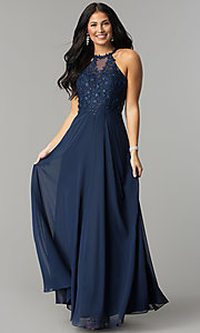 Image of long blue prom dress with embroidered bodice. Style: DQ-2196 Front Image
