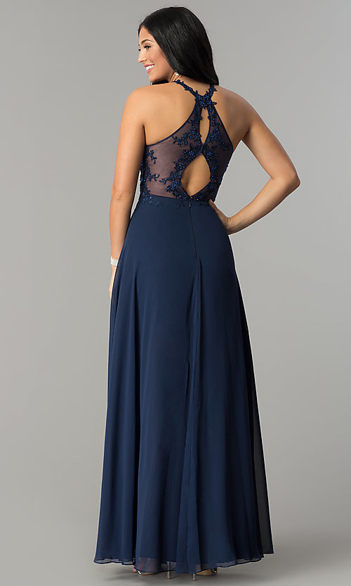 Image of long blue prom dress with embroidered bodice. Style: DQ-2196 Back Image