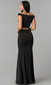 Image of two-piece off-the-shoulder mermaid prom dress. Style: DQ-2205 Back Image