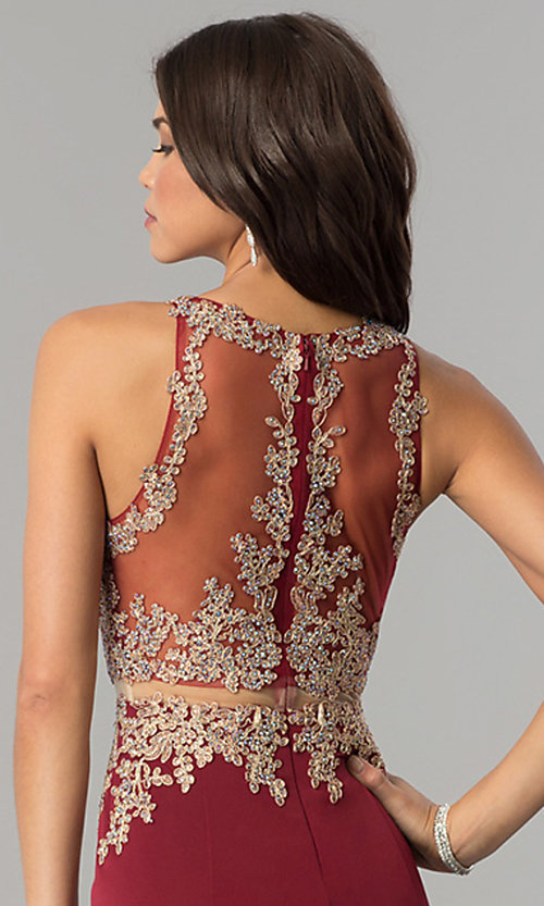 Image of mock-two-piece illusion long formal prom dress. Style: DQ-2224 Detail Image 2