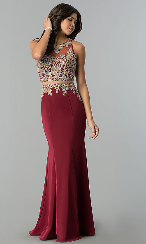 Image of mock-two-piece illusion long formal prom dress. Style: DQ-2224 Front Image