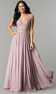 Image of embroidered-lace-applique long chiffon prom dress. Style: DQ-2161 Front Image