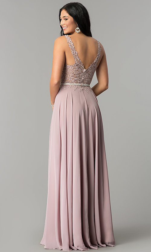 Image of embroidered-lace-applique long chiffon prom dress. Style: DQ-2161 Back Image