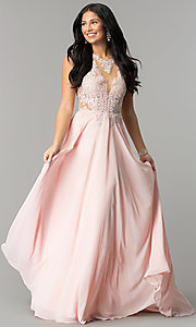 Image of long prom dress with lace illusion bodice.  Style: DQ-2015 Detail Image 1