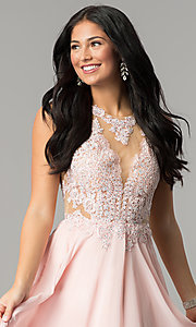 Image of long prom dress with lace illusion bodice.  Style: DQ-2015 Detail Image 2