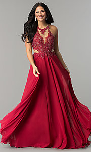 Image of long prom dress with lace illusion bodice.  Style: DQ-2015 Detail Image 3