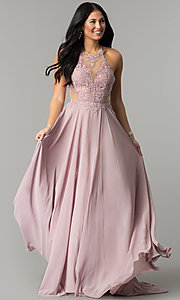 Image of long prom dress with lace illusion bodice.  Style: DQ-2015 Front Image