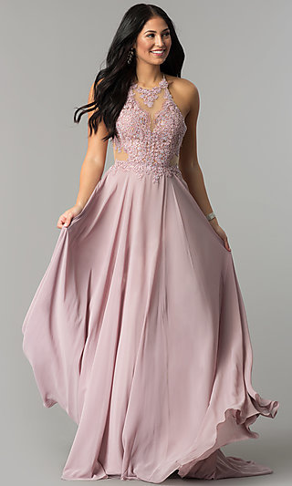 Long Prom Dress with Lace Illusion Bodice