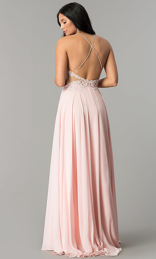 Image of long prom dress with lace illusion bodice.  Style: DQ-2015 Back Image