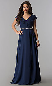 Image of long chiffon evening dress with ruffled v-neck. Style: DQ-2072 Front Image