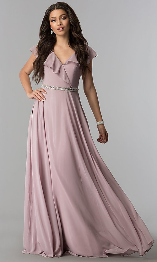 Image of long chiffon evening dress with ruffled v-neck. Style: DQ-2072 Detail Image 2