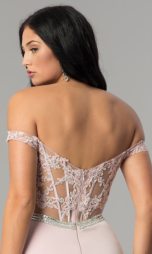 Image of long lace-bodice off-the-shoulder prom dress. Style: DQ-2164 Detail Image 2