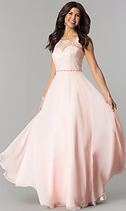 Image of lace-bodice long chiffon illusion-neck prom dress. Style: DQ-2240 Detail Image 1