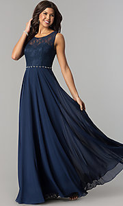 Image of lace-bodice long chiffon illusion-neck prom dress. Style: DQ-2240 Front Image