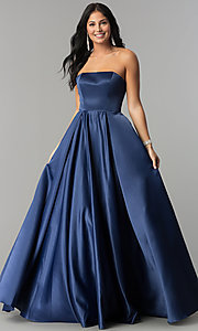 Image of long strapless prom dress with lace-up corset. Style: DQ-2211 Front Image