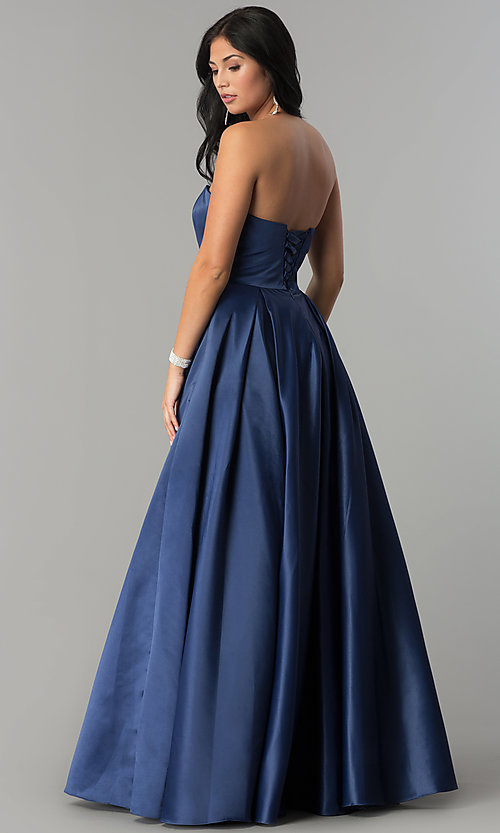 Image of long strapless prom dress with lace-up corset. Style: DQ-2211 Back Image