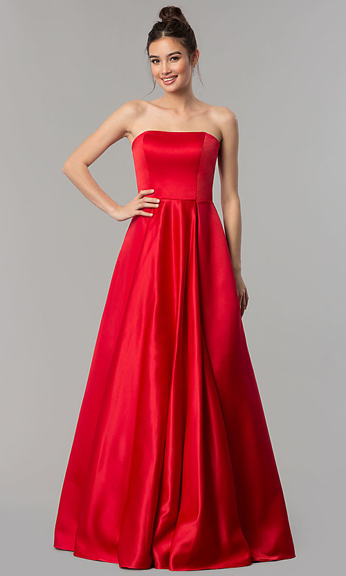 Image of long strapless prom dress with lace-up corset. Style: DQ-2211 Detail Image 2