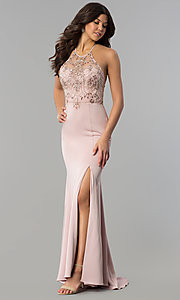 Image of long beaded illusion-sweetheart prom dress. Style: DQ-2200 Front Image