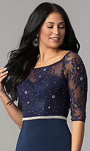 Image of three-quarter-sleeve lace-bodice long prom dress. Style: DQ-2201 Detail Image 1
