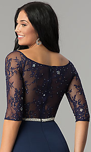 Image of three-quarter-sleeve lace-bodice long prom dress. Style: DQ-2201 Detail Image 2