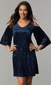 Image of Tiana B navy blue velvet short shift party dress. Style: JU-TI-T0468 Front Image
