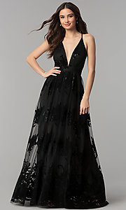 Image of v-neck formal prom dress with double side slits. Style: LUX-LD3452-S Detail Image 1