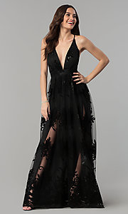 Image of v-neck formal prom dress with double side slits. Style: LUX-LD3452-S Detail Image 3