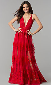 Image of v-neck formal prom dress with double side slits. Style: LUX-LD3452-S Front Image