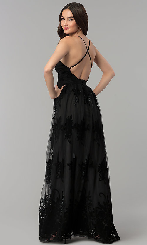 Image of v-neck formal prom dress with double side slits. Style: LUX-LD3452-S Detail Image 2