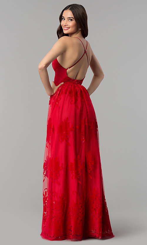 Image of v-neck formal prom dress with double side slits. Style: LUX-LD3452-S Back Image