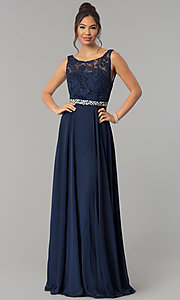 Image of long chiffon prom dress with lace-illusion bodice. Style: FB-GL2420 Front Image
