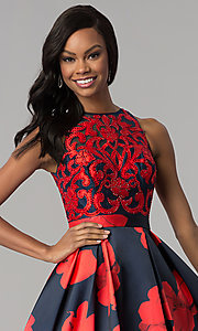 Image of floral-print open-back a-line satin prom dress. Style: TI-GL-1715P3828 Detail Image 1