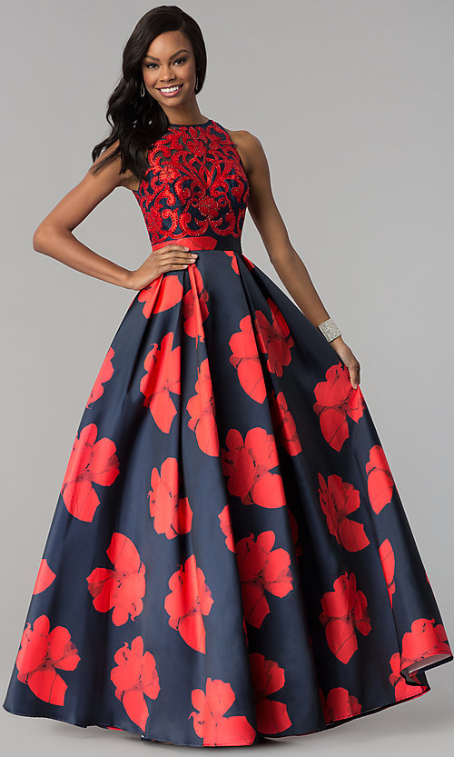 Image of floral-print open-back a-line satin prom dress. Style: TI-GL-1715P3828 Front Image