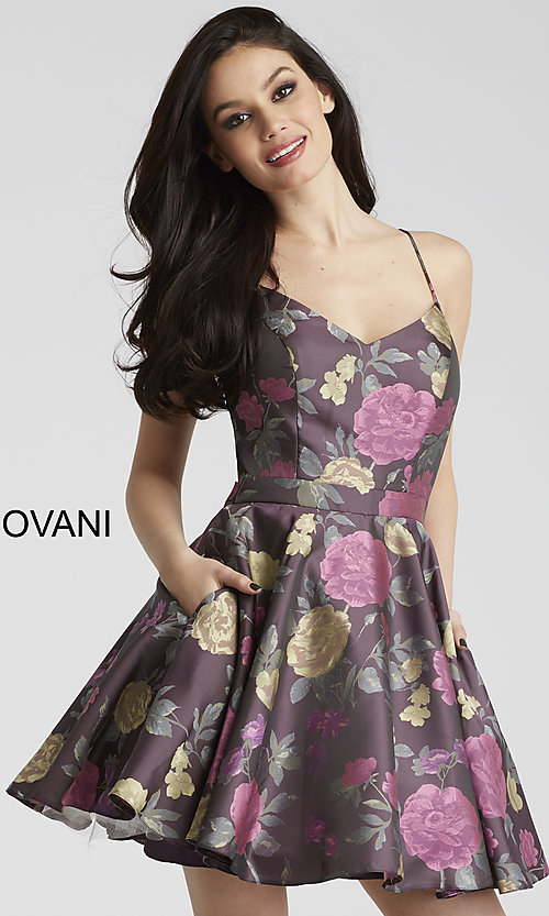 Print Open-Back Homecoming Dress with Pcokets
