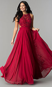 Image of long burgundy high-neck prom dress with embroidery. Style: DQ-9851 Detail Image 1