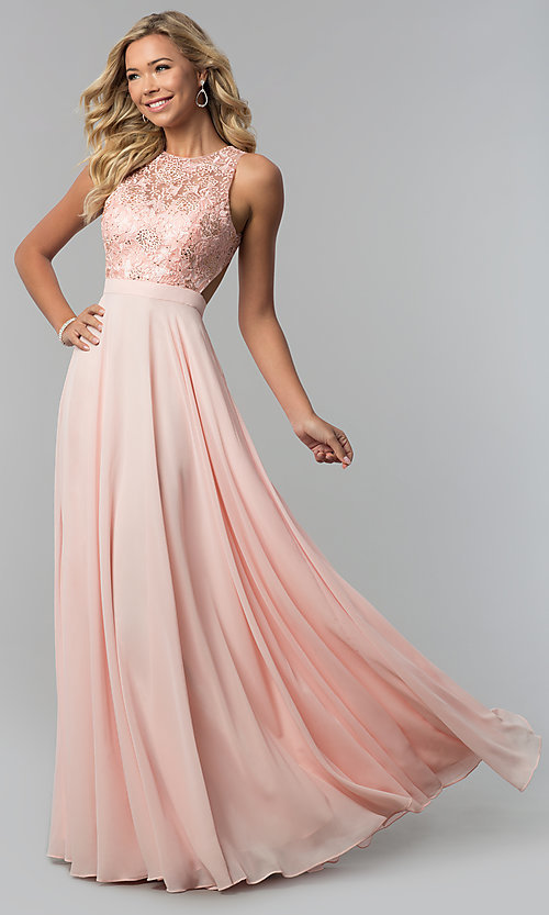 Image of long burgundy high-neck prom dress with embroidery. Style: DQ-9851 Detail Image 2